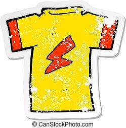 hemd, verontruste, sticker, lightning, retro, t, spotprent, bout