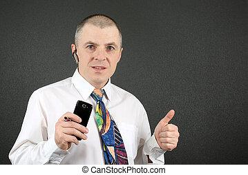hemd, zakelijk, mobiele telefoon, pen, witte , man