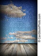 hemel, aanzicht, abstract, terras