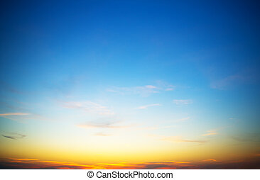 hemel, avond, ondergaande zon