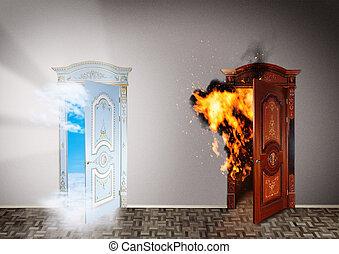 hemel, concept., twee, keuze, deuren, hell.