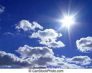 hemel, en, een, zon