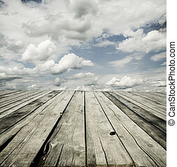 hemel, en, houten dek, achtergrond