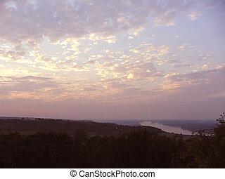 hemel, en, wolken, -, zonsondergangen