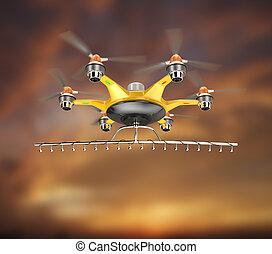 hemel, hexacopter, wieken sprayer kort