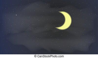 hemel, illustratie, maan, vector, sterretjes, nacht