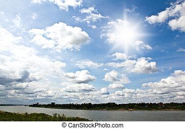 hemel, met, wolken, en, zon