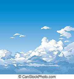 hemel, met, wolken