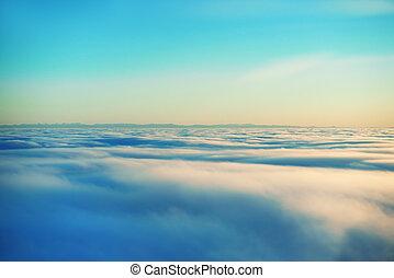 hemel, ondergaande zon , zon, en, wolken