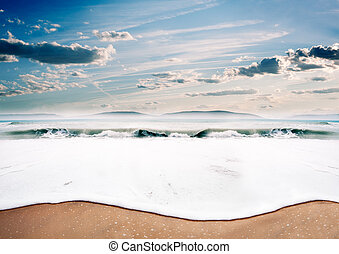 hemel, strand, ondergaande zon , dreamscape