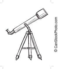 hemel, telescoop, schouwend