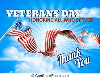 hemel, vlag, veteranen, amerikaan, dag