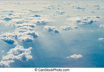 hemel, wolken, blauwe