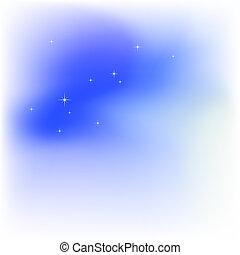 hemel, wolken, stars., abstract, ontsteken blauw, vector, achtergrond