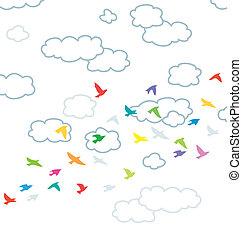 hemel, wolken, vogels, vector, vliegen