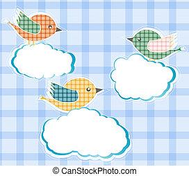 hemel, wolken, vogels, zittende