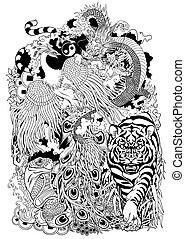 hemels, dieren, illustratie, vier, black , witte