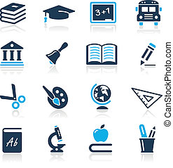 //, hemelsblauw, iconen, opleiding, reeks