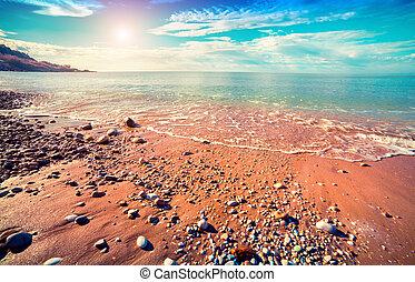 hemelsblauw, middellandse zee, op, zonnig, mo