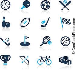 //, hemelsblauw, sporten, reeks, iconen