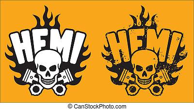 hemi, cranio, e, pistões, com, grunge