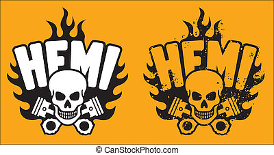 Hemi Skull and Pistons with grunge