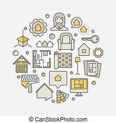 heminredning, arkitektur, illustration