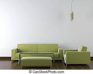 heminredning, nymodig, grön, möblemang, vita, vägg