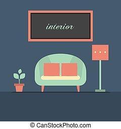 heminredning, nymodig, sofa.