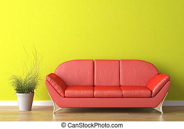 heminredning, röd, couch, på, grön