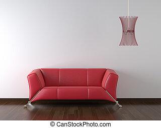 heminredning, röd, couch, vita vägg
