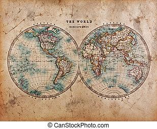 hemisfär, värld, gammal, karta