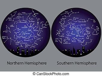 hemisfério, constelações sulistas, norte