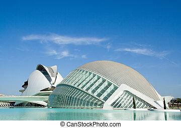 hemisferic, 以及, palau, de, les, 藝術, 在, 巴倫西亞, 西班牙