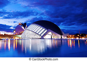 Hemisferic futuristic building panoramic view in the City of Arts and Sciences, Valencia, Spain, Europe