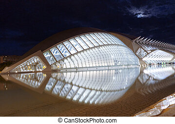 Hemisferic futuristic building scenic night view in the City of Arts and Sciences, Valencia, Spain
