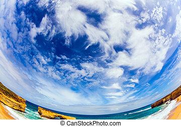 hemisferio meridional, cielo nublado
