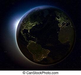 hemisferio norteño, de, espacio, por la noche