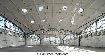 Hemispherical reinforced concrete load bearing roof of warehouse
