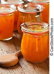 hemlagat, melon, marmelad, in, a, inkokning, kruka