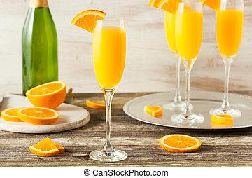 hemlagat, uppfriskande, apelsin, mimosa, cocktailer