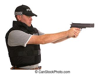 hemlig, beväpnat, polis