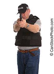 hemlig, beväpnat, polis, officer.