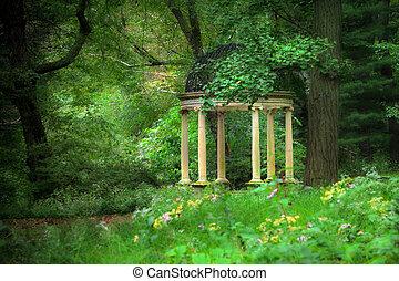 hemlighet, trädgård, gazebo