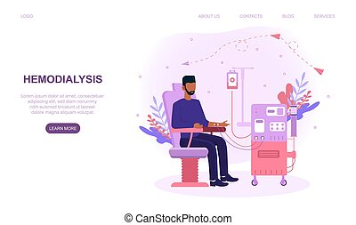 Hemodialysis for kidney treatment. Man sitting in a chair and getting a kidney disease treatment. Patient having a internal injection. Website web page, landing page template. Flat vector illistration