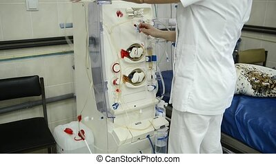 Hemodialysis machines with tubing.