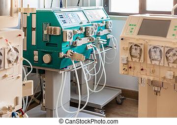 hemodialysis ward - a dialyser or hemodialysis machine in an...
