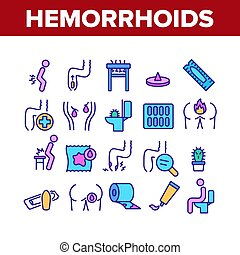 Hemorrhoids Disease Collection Icons Set Vector
