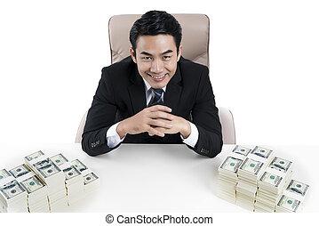 hemorroider, pengar, topp, två, ung, stor, skrivbord, affärsman, synhåll
