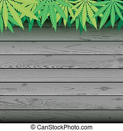 hemp and gray plank wooden background